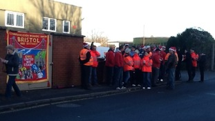 Postal workers on strike in Bristol