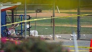 Equipment is left strewn across the field in the aftermath of the shooting.