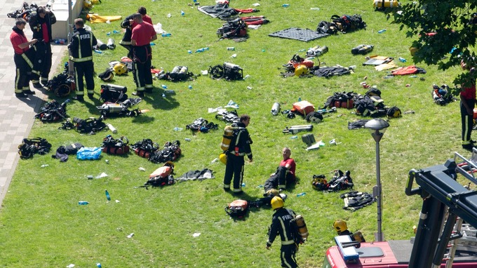 Equipment was seen strewn across grassland.