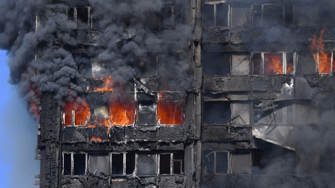 The residential flats were seen entirely engulfed in flames.