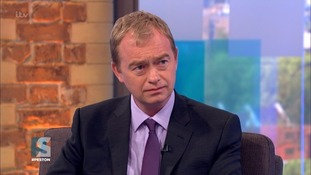 Tim Farron said he was 'getting tired' of being asked if gay sex was sinful during a campaign appearance on Peston.
