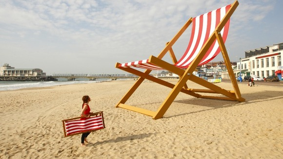 The world&#x27;s largest deckchair, Bournemouth Beach. 