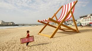 The world's largest deckchair, Bournemouth Beach.