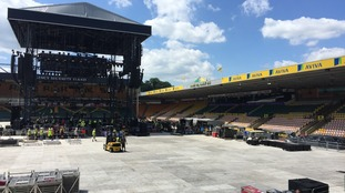 Carrow Road in Norwich being transformed ahead of sell out concerts by Take That.