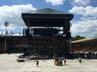 The stage is almost ready for the Take That concerts in Norwich.