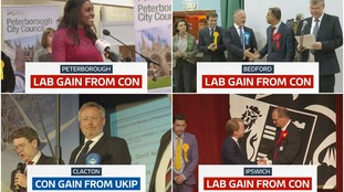 Three new Labour MPs were elected in Peterborough, Bedford and Ipswich while the Conservative won Clacton from UKIP.