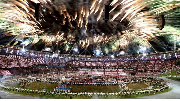 Fireworks celebrate the end of Danny Boyle&#x27;s Olympic Opening Ceremony, and the start of London 2012