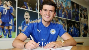 Harry Maguire in Leicester City shirt