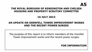A report from July 2013 gave an update on the improvement work proposed at Grenfell Tower.