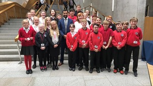 Kirkcudbright Primary Pupils with MSPs Humza Yousaf MSP and Emma Harper