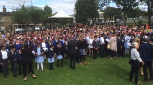 Children from across West Yorkshire gather for a Big Sing in honour of Jo Cox.