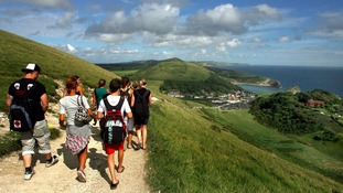 View of South West Coast Path from Lulworth Cove to Durdle Door, Dorset