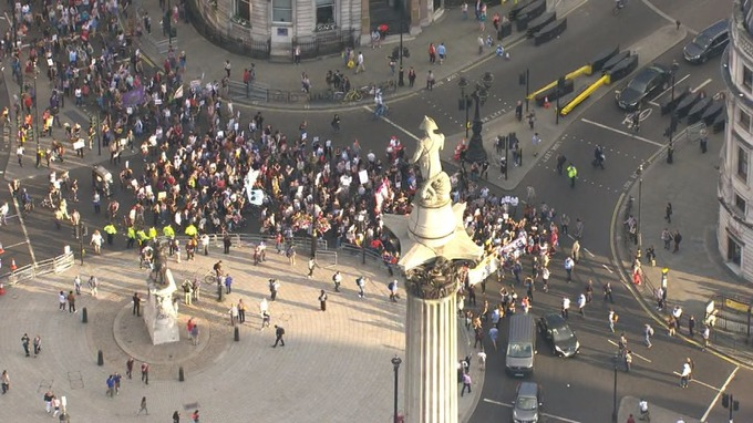 The protest ramps up around Trafalgar Square