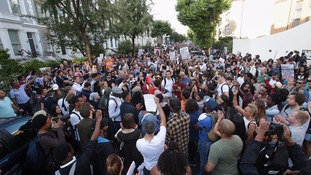 Hundreds of protesters fill the street in Ladbroke Grove