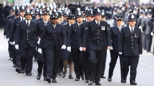 Thousands of officers lined London's streets for Pc Palmer's funeral. Credit: PA