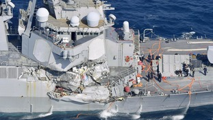 The damaged US Navy destroyer, the USS Fitzgerald.