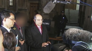 Keith Vaz and Jacintha Saldanha's husband speak to the media outside the House of Commons