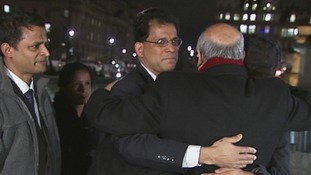 Keith Vaz embraces Jacintha Saldanha husband and two children