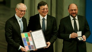 President of European Council Van Rompuy, President of EC Barroso and President of European Parliament Schulz receive the accolade.