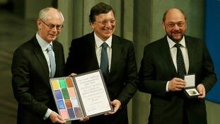 President of European Council Van Rompuy, President of EC Barroso and President of European Parliament Schulz receive the accolade.