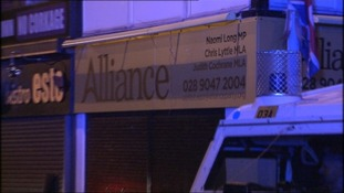 One device exploded close to a patrol car parked near the offices of the East Belfast MP Naomi Long.