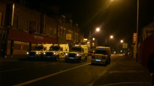 Scene outside the Alliance office in East Belfast.