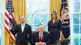 Keeping it cool: Teacher's fan makes Trump photo go viral