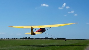 Gliding at Upwood, Cambridgeshire on the hottest day of the year.