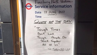 Message at Finsbury Park underground station this morning