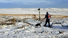 Snow on the Pennine tops at Saddleworth Moor near Manchester following a week of frosts and snow.