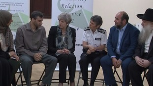 The prime minister later joined Met Commissioner Cressida Dick in meeting faith leaders at the Finsbury Park Mosque.
