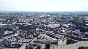 Drone still of Carlisle in sunshine and hot weather