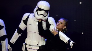 Wrestling with a Storm Trooper at a premiere.