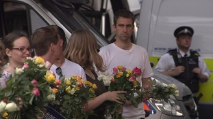 The widow of murdered MP Jo Cox took flowers.