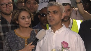 London Mayor Sadiq Khan addresses the crowd.