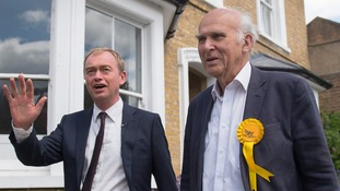 Sir Vince Cable, seen with outgoing leader Tim Farron, was returned to Parliament earlier this month.