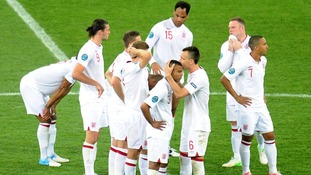 England players react after losing to Italy on penalties in Euro 2012