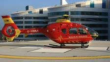 Air Ambulance lands on roof of the QE