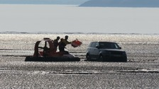 Hovercraft rescues Range Rover on the Weston mudflats