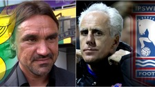 Norwich City's Daniel Farke (left) and Ipswich Town's Mick McCarthy (right) will meet for the first time in October.