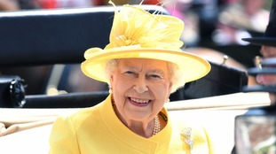 The Queen swapped her blue day dress for a summery yellow outfit at Royal Ascot hours later.