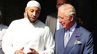 Prince Charles talks to 'hero' imam Mohammed Mahmoud.