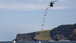 Cliffs of Moher divers take plunge from helicopter