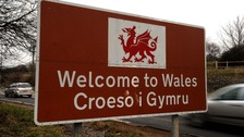 A 'Welcome to Wales' sign