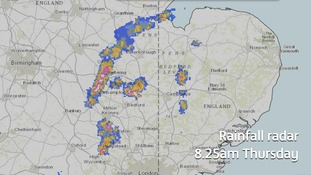 Rainfall radar taken at 8.25am showing where the thunderstorms are.a