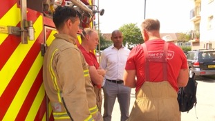 Marvin Rees and firefighters
