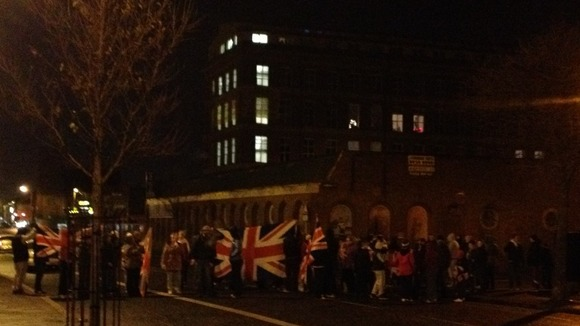 Union Flag carrying protesters blocked the Crumlin road in north west Belfast