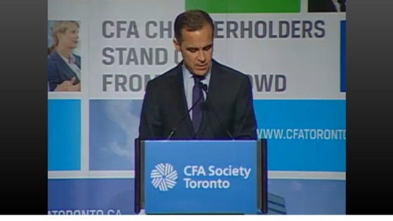 Mark Carney gives a speech in Canada