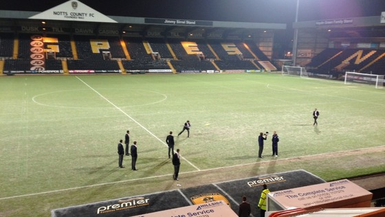 Notts County pitch frozen
