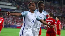 Jacob Murphy celebrates scoring England's second goal.